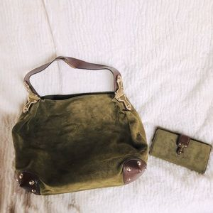 Michael Kors olive green suede bag with wallet
